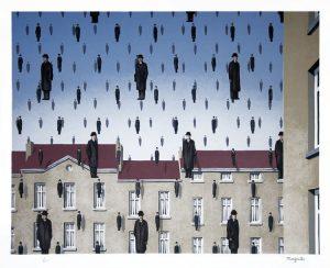 René Magritte Lithograph, Golconde (Golconda)