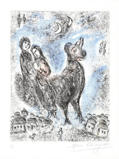 Marc Chagall Etching, La Paix du soir (Evening Peace) from Songes, 1981