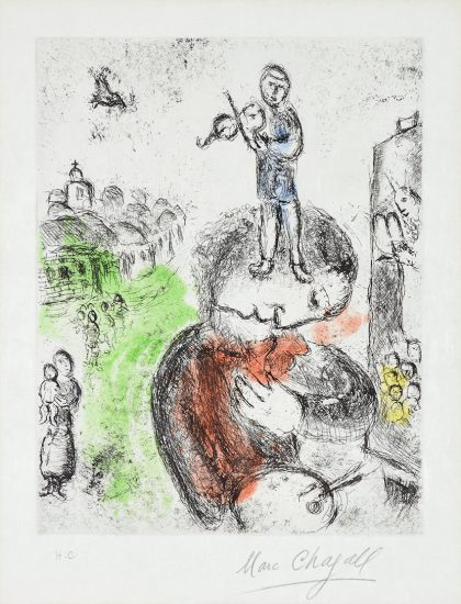 Marc Chagall Etching, Musique (Music) from Songes, 1981