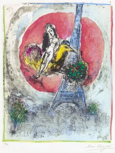 Marc Chagall Lithograph, Les Amoureux de la Tour Eiffel (The Eiffel Tower Lovers), 1960
