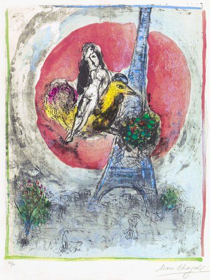 Marc Chagall Lithograph, Les Amoureux de la Tour Eiffel (The Eiffel Tower Lovers), 1960