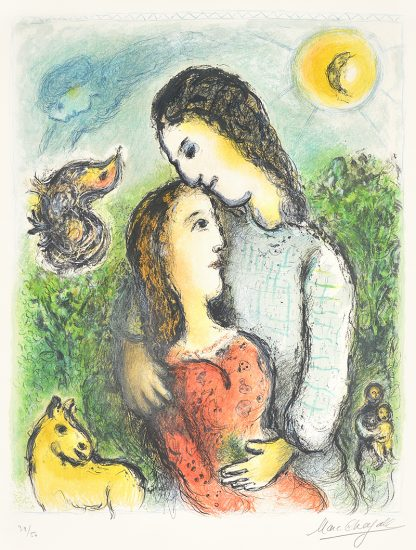 Marc Chagall Lithograph, Marc Chagall Les Adolescents (The Adolescents), 1975