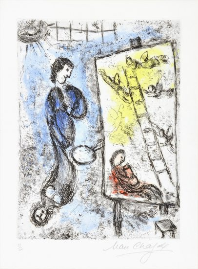 Marc Chagall Etching, Le Chevalet (The Easel) from Songes, 1981