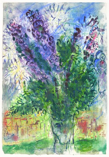 Marc Chagall Gouache, Bouquet, 1966