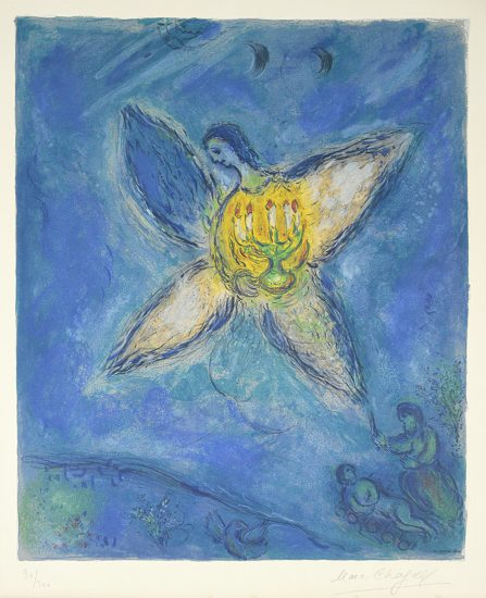 Marc Chagall Lithograph, L' ange au chandelier (Angel with Candlestick), 1973