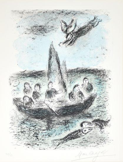 Marc Chagall Lithograph, La barque de Jonas (Jonas's Boat), 1977