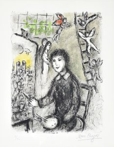 Marc Chagall Lithograph, Le peintre devant le tableau (The Painter in Front of his Painting), 1978