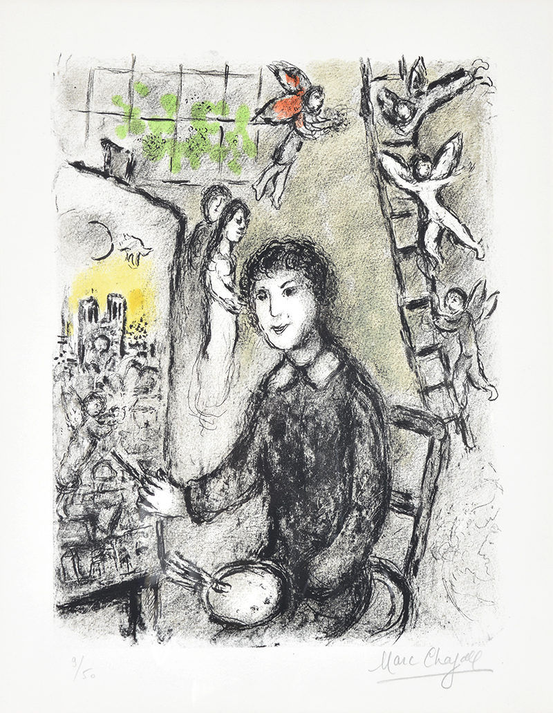 Marc chagall le peintre devant le tableau the painter in for Devant le miroir manet