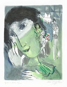 Marc Chagall Lithograph, Marc Chagall Le Poète (The Poet), 1966
