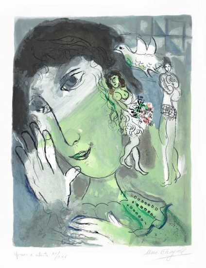 Marc Chagall Lithograph, Le Poète (The Poet), 1966