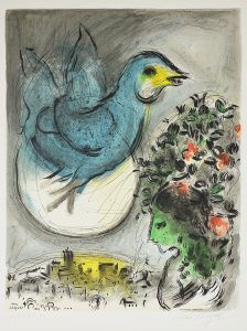 Marc Chagall Lithograph, L'oiseau bleu (The Blue Bird), 1968