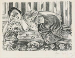 Henri Matisse Lithograph, Matisse Lithograph Odalisque a la culotte de satin rouge (Odalisque with Red Satin Culottes), 1925