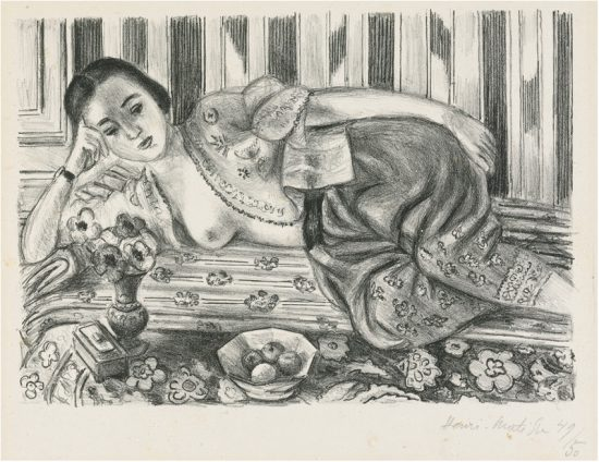 Henri Matisse Lithograph, Matisse Lithograph Odalisque a la culotte de satin rouge (Odalisque with Red Satin Culottes), 1925