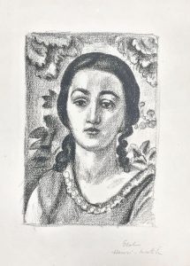 Henri Matisse Lithograph, Jeune Fille Aux Boucles Brun, (Young Girl with Brown Earrings),1924
