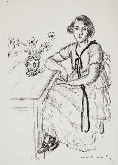Henri Matisse Lithograph, La Robe Jaune au Ruban Noir (The Yellow Dress with Black Ribbon), 1922
