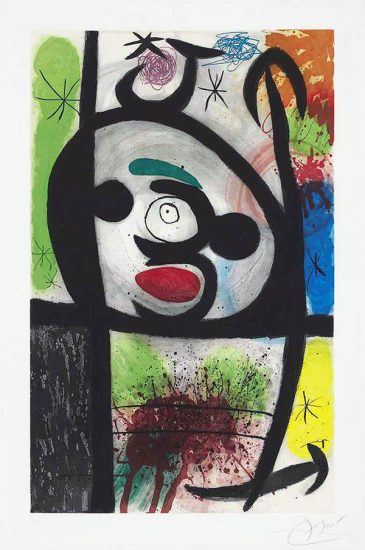 Joan Miró Etching, La Femme Toupie (The Spinning Woman), 1974
