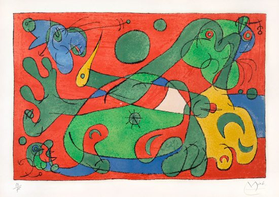 Joan Miró Lithograph, Ubu Roi (King Ubu) from Suites pour Ubu Roi, 1966