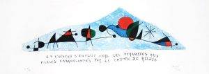 Joan Miró Etching, Et l'oiseau s'enfuit vers les pyramides aux flancs ensanglantés par la chute de rubis (And the Bird Flew Off to the Pyramids, Their Sides All Covered with Blood From Falling Rubies), 1954