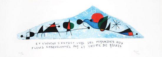 Joan Miró Etching, Et l'oiseau s'enfuit vers les pyramides aux flancs ensanglantés par la chute de rubis, 1954
