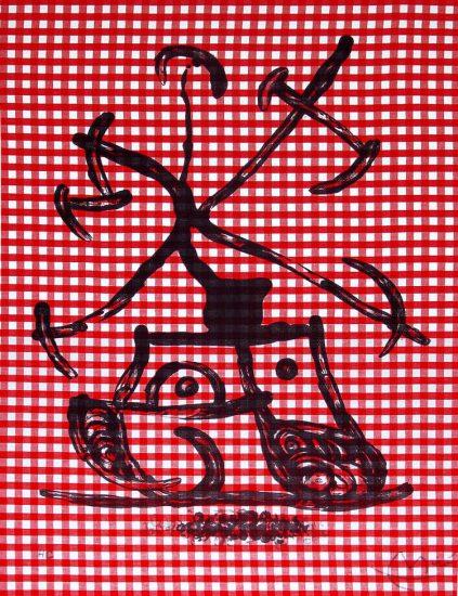Joan Miró Lithograph, La Dame aux damiers (Lady with Checkers), 1969