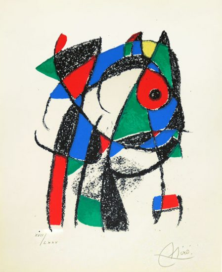 Joan Miró Lithograph, Pl. 2 from Lithograph II, 1975