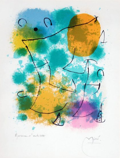 Joan Miró Lithograph, Hommage à Rimbaud (Homage to Rimbaud), 1962