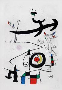 Joan Miró Etching, Village D'Oiseaux, (Village of the Birds), 1969