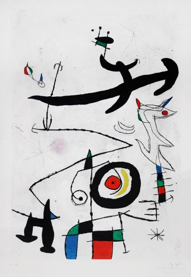Joan Miró Etching, Village D'Oiseaux, (Village of the Birds), 1969