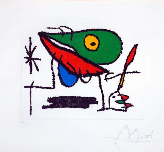 Joan Miró Etching, El Sobreviviente Visita Los Pájaros I, 1972