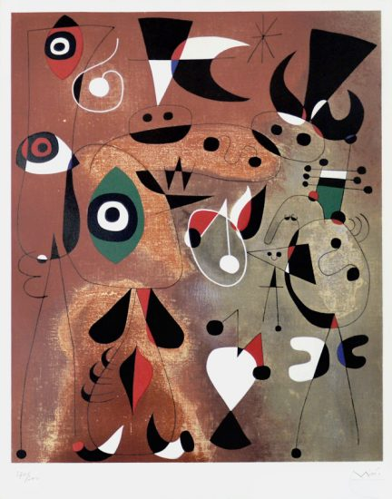 Joan Miró Lithograph, Femmes, Oiseaux, Etoile (Woman, Birds, Star), 1960