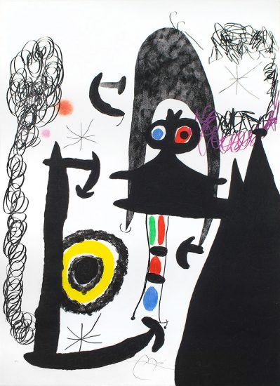 Joan Miró Aquatint, Escalade vers la Lune (Climbing to the Moon), 1969