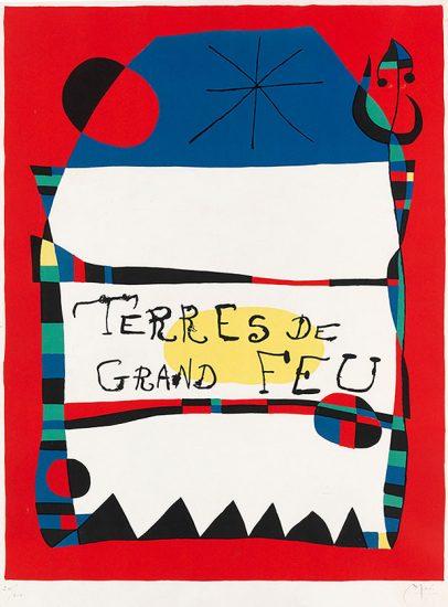 Joan Miró Lithograph, Terres de grand feu, 1956