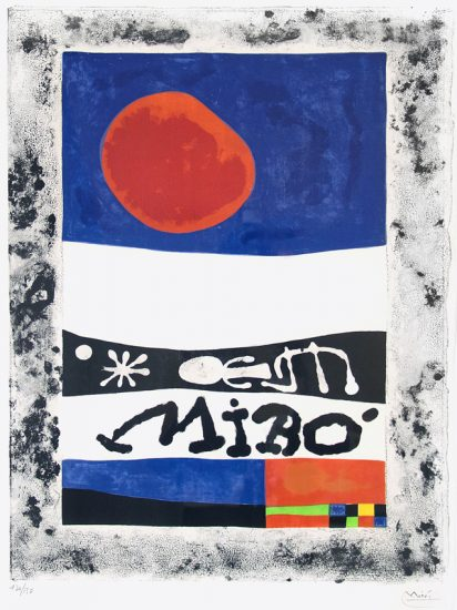 Joan Miró Lithograph, L'Exposition d'oeuvres recentes (Exhibition Recent Works), 1953
