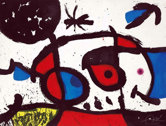 Joan Miró Etching, Joan Miro Le Bagnard et sa Compagne, 1975