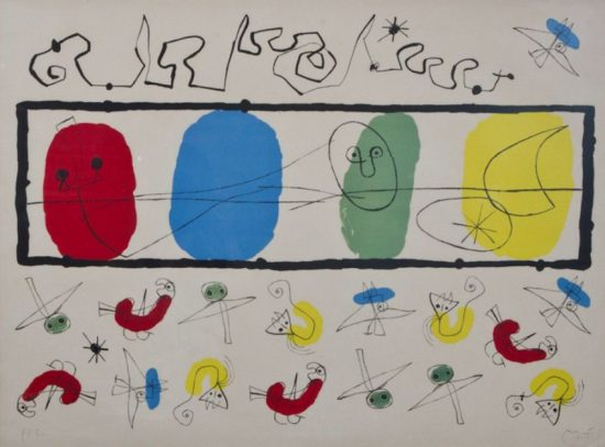 Joan Miró Lithograph, Les Oiseaux (The Birds), 1956