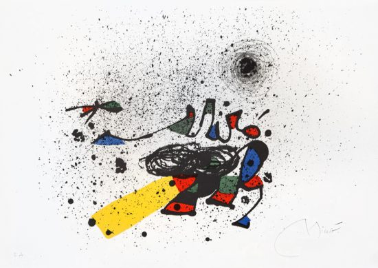 Joan Miró Lithograph, Sense Titol (Untitled), Invitation Card for the Preview of the Exhibition Miró, 1978