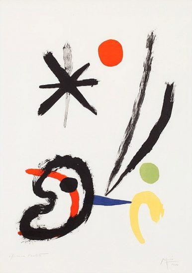 Joan Miró Lithograph, L'oiseau Comet (Comet Bird), 1951