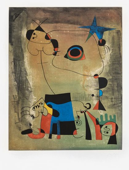 Joan Miró Etching, Le Chien Bleu (The Blue Dog), 1959