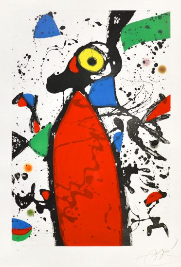 Joan Miró Aquatint, Souris Rouge a La Mantilla (Red Mouse with Mantilla), 1975