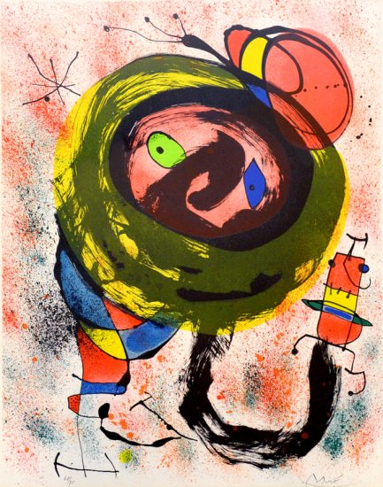 Joan Miró Lithograph, Pl. 5 from Les Voyants (The Seers), 1970