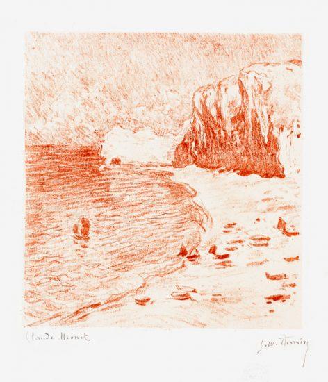 Claude Monet Lithograph, La Plage et la Falaise d'Amont, (Beach and the Falaise d'Amont), 1894