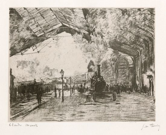 Claude Monet Lithograph, La Gare Saint –Lazare, le train de Normandie (Arrival of the Normandy Train), c. 1890-1908