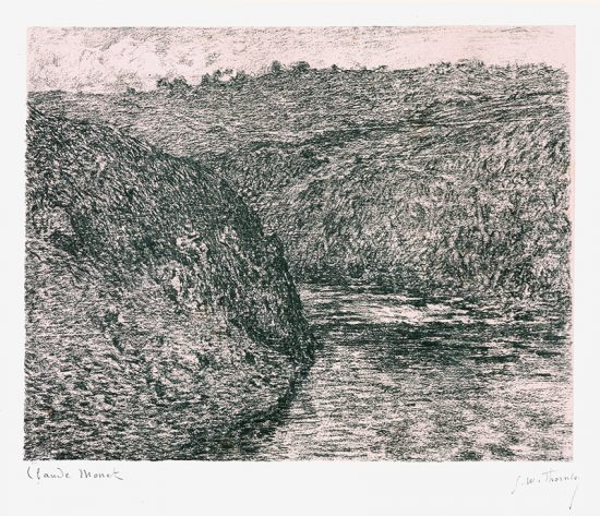 Claude Monet Lithograph, Les Eaux semblantes, temps somber (The Creuse, dark weather), 1894