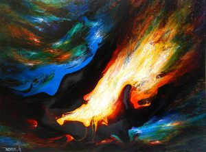 Leonardo Nierman Oil, Volcanic Wind, 1968