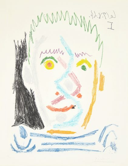 Pablo Picasso Lithograph, Tete D'Homme Au Maillot Raye (Man'S Head With Striped Shirt), 1964