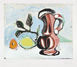 Pablo Picasso Aquatint, Nature morte au citron et un pichet rouge (Still Life with Lemon and Red Pitcher), c.1955