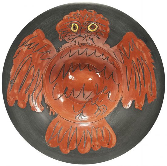 Pablo Picasso Ceramic, Hibou rouge sur fond noir (Red Owl on Black Ground), 1957 A.R. 398