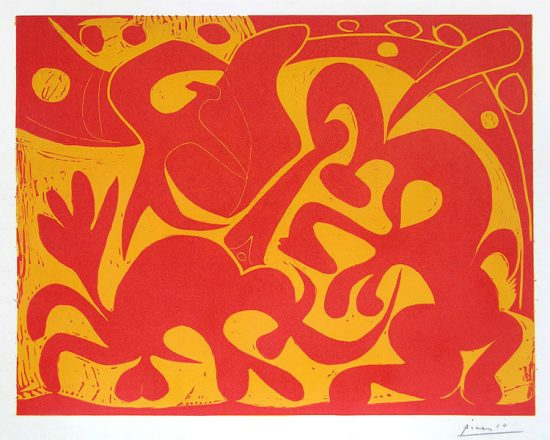 Pablo Picasso Artwork, La Pique en Rouge et Jaune (The Bullfight in Red and Yellow), 1959