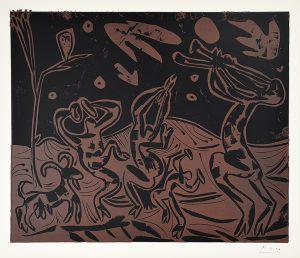 Pablo Picasso Linocut, Les Danseurs au Hibou (Dancers with an Owl), 1959