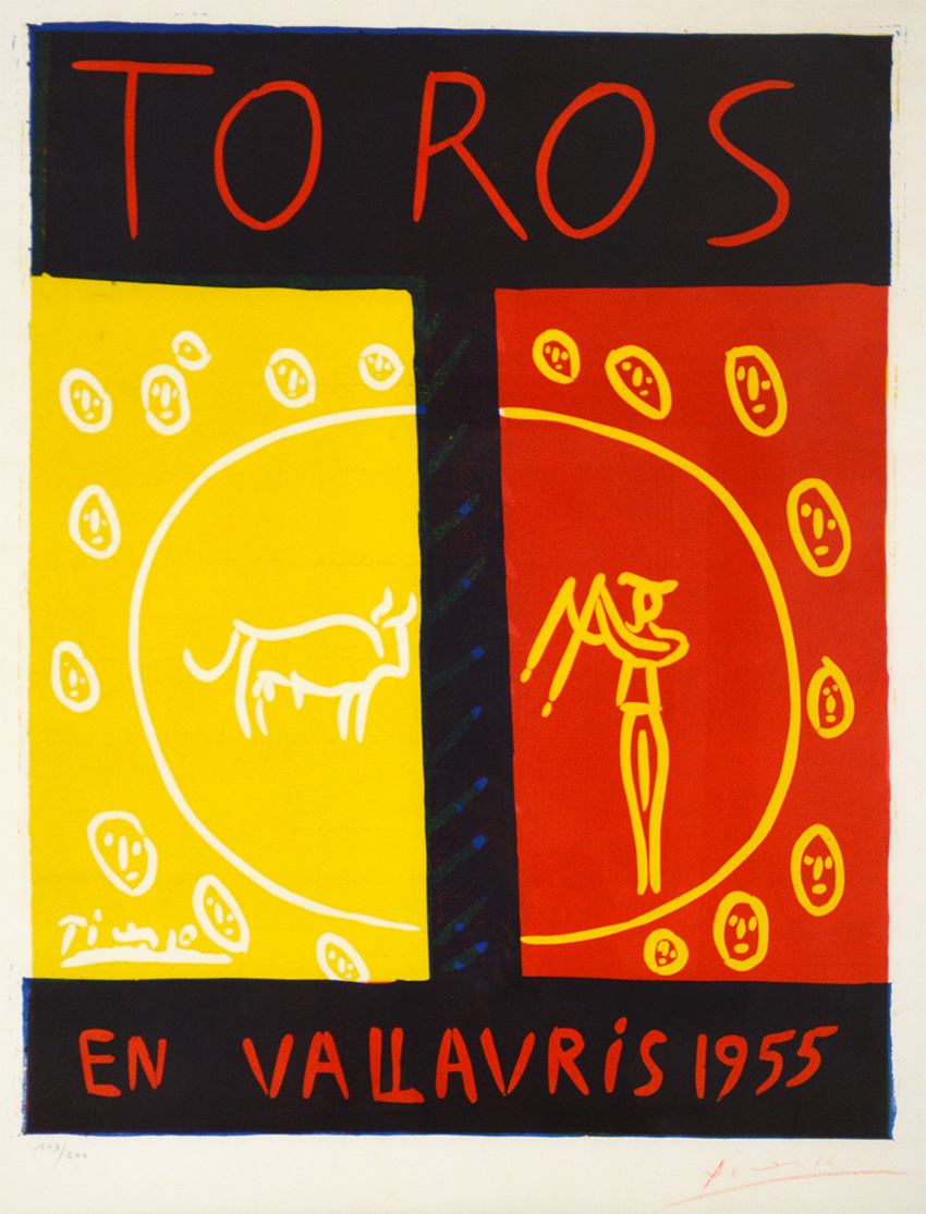 1959 Mini Poster Lithograph ORIG Print Pablo Picasso Toros Bulls In Vallauris En
